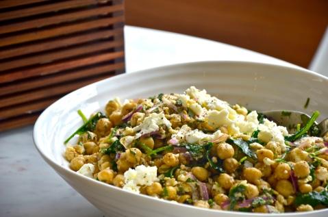 kale chickpea feta salad