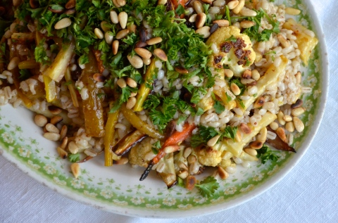 farro and winter vegetables